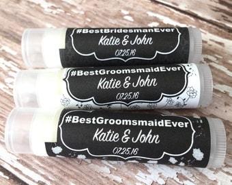 Wedding Party Lip Balm Favors - Bridesman - Groomsmaid - Bachelorette Party - Bridal Party Favor - Lip Balm - Bridal Shower - Chapstick