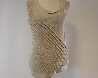 Feminine artsy asymmetrical natural linen top, M size.