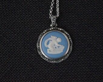 Vintage Sterling Silver Wedgewood Jasperware necklace - Vintage pendant - Vintage Wedgewood Cupid Necklace - Vintage Marcasite Necklace