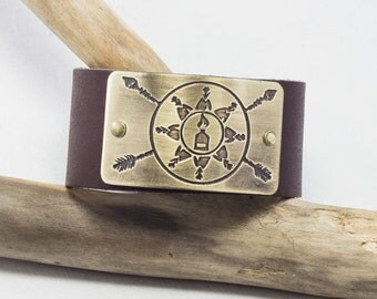 "Standing Rock Leather Cuff. Stand with Standing Rock with this 1.25"" wide leather cuff. For guys and gals"