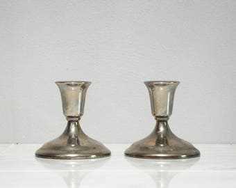 Pair of Elegant Silver Plated Candlestick Holders by Wm. A ROGERS / Simple  Short and