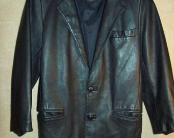 Vintage~Womens~leather~coat~jacket~Kenmarket~Made in London~Size XS~Lined~Black~Ken Market~Soft~