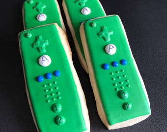 12 nintendo Wii remote control cookies nintendo inspired - VIDEO GAME themed bday party video xbox CONTROLLER color of your choice switch