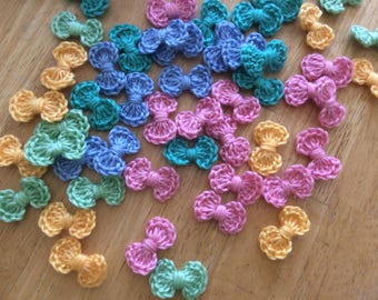 25 crochet bows ,colorful  bows , multicolor bows SALE  cardmaking, scrapbooking, appliques , craft embellishments, sewing accessories.