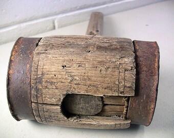 Antique Mallet Wood Mallet Antique Maul Wood Maul Antique Tools Rustic Primitive Tools Pounding Tools Iron Wood Rustic Decor Farmhouse Decor