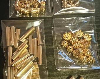 Set of 100 caps bead caps gold tubes