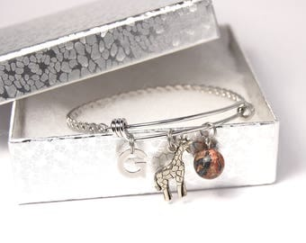 Giraffe Bangle, Giraffe,Initial and Bead Charm on Adjustable Stainless Steel Bangle.