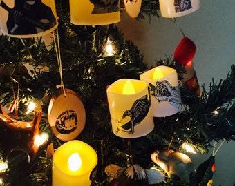 Day of the Dead Christmas Tree Ornaments 6 Calacas Posada Art Battery -lit