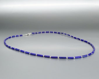 Fine Lapis Lazuli Necklace and silver beads - natural Lapis Lazuli necklace - royal blue and silver - Statement Necklace - gift idea -afghan