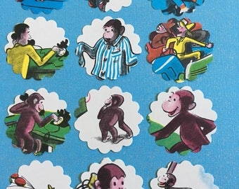 Curious George cupcake toppers and upcycled book #2