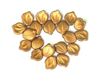 Gold matte metallic 11 x 12mm petals. Set of 10 or 20.
