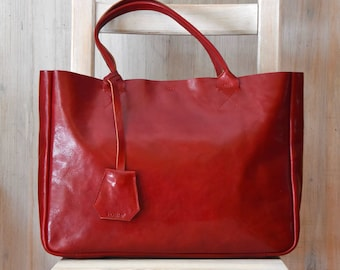 Red Leather Tote Bag - BELLA Ferrari Red – Medium Size Handmade Leather Tote