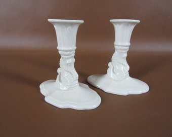 Cowan pottery candle holders with sea horses