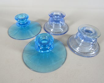 2 pair vintage blue glass candle holders