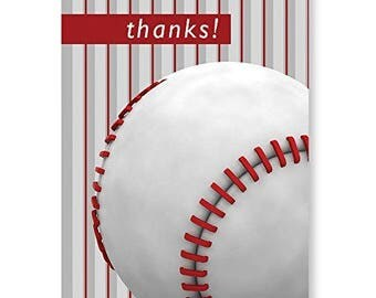 Baseball Thank You Note Card- 18 Cards & Envelopes - B14069