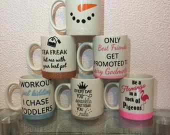 Slogan mug, glitter mug, glitter slogan mug, funny mug, cup, humourous mug, coffee, tea