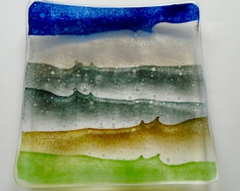 Square, fused glass, dish with landscape inspired design