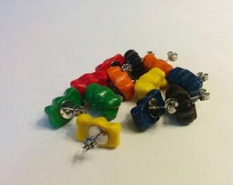 Handmade clay gummy bear earrings.