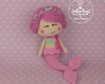 Pink mermaid - crochet doll