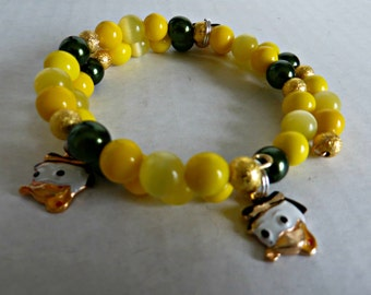 handmade jewelry,bracelet,Oregon State,OSU,yellow,green,gold,