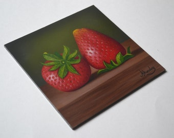 Acrylic 6x6' red strawberry painting, fruit painting, kitchen art, tiny food painting, small still life painting, berry artwork, miniature