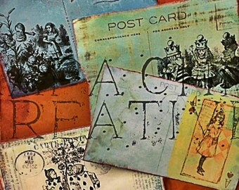 Postcards  Alice in Wonderland Printable  4 Digital Designs  Postal or Crafts -  Ephemera Pack  Vintage alice  Junk Journal Kits