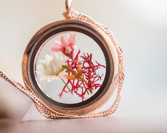 Rosé Necklace real flower, gold Locket Jewelry Woman Real Dried Flowers Pendant, genuine flower pendant, gift