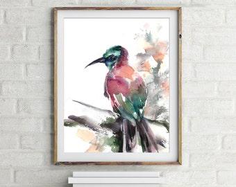 Bird Art Print, watercolor painting of bird, Bird Watercolor Print, Carmine Bee Eater Painting, Wall Art, bird art