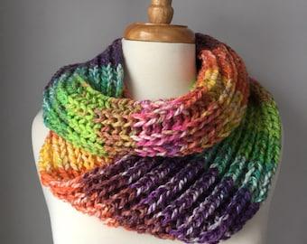 Knit Infinity Scarf - Handmade Chunky Cowl - Rainbow