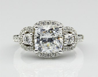 Cushion Cut 2ct Esdomera Moissanite Center 3-Stones Halo 14k White Gold Engagament Ring (CFR0498-MS2CT)