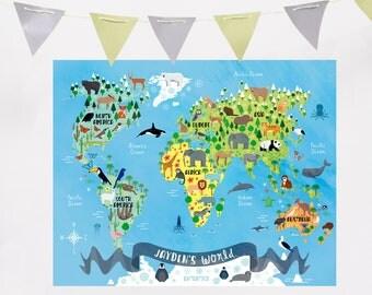 Custom World Map, Custom Animal World Map, Personalized Animal World, Animal World Map Personalized, Nursery Animal Printable, Custom Map