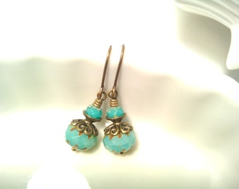 Art Deco Turquoise Earrings Czech Bead Turquoise Earrings Small Simple Light Dangles Boho Beachy Turquoise Jewelry Gift