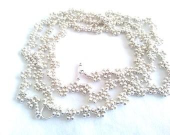 Long Beaded Necklace Wrap Necklace Double Wrap Necklace Silver Wrap Necklace Choker
