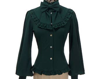 Gothic Vintage Long Sleeves Dress Shirt Preppy Blouse Bowie