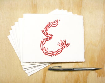 Letter E Stationery - Set of 6 Block Printed Cards - Choose Your Color - Personalized Gift - MADE TO ORDER