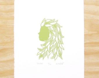 "Woodblock Print - ""Sister"" - Woman Head - Feminine - Sprout Green - Art Printmaking"