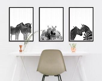 Black and White Zebra Wall Art Set, Black and White Zebra Nursery Art Prints Set, Zebra Love Each Other Photography