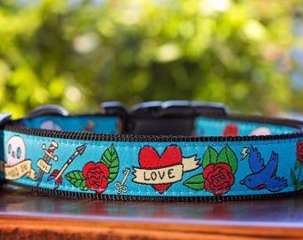 Rockabilly Tattoo Dog Collar / XS-XL / Dog Collars Australia