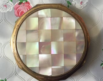 Vintage Stratton compact mirror mother of pearl compact decadon Stratton powder compact makeup mirror 1960's compact MOP Stratton mirror