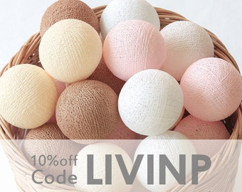 20 Cherry Blossom Pastel Pink Brown Cream White Cotton Ball String Lights Handmade for Bedroom Baby room Wedding Birthday Party Fairy Patio