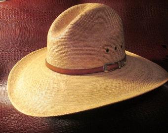 Vintage Genuine Palm Leaf Western Cowboy Hat Size 7-5/8