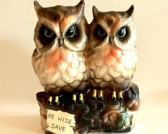 Vintage Ceramic Owl Bank,  Be Wise Save,  Owl Still Bank Figurine, Owls on Log, Matte bisque finish, Hand Painted Matte Bisque, Japan, 1950s