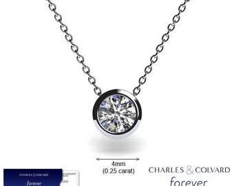 SALE!! 0.25 Carat (4mm) Moissanite Forever One Bezel Pendant in 14K Gold (with Charles & Colvard warranty)