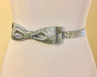 Sparkly Silver Belt with Bow