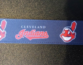 "7/8"" Cleveland Indians Inspired Grosgrain Ribbon"