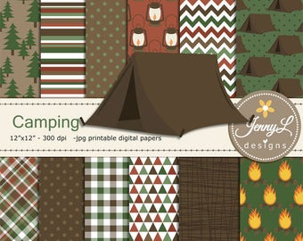 Camping Digital Papers & clipart SET, Tent, Bonfire, Stars wild, smores, tree for Digital Scrapbooking,  invitations, Planner