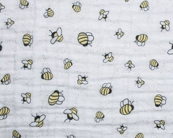 Shannon Double Embrace SMDBees A Buzz Embrace Banana  DR120147 One Half Yard Cut and Yardage Available Alphabet Rework Like