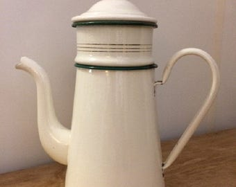 Vintage French cream and green enamel coffee pot