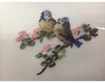 Vintage Small Framed Needlepoint Birds Chickadees Stitchery