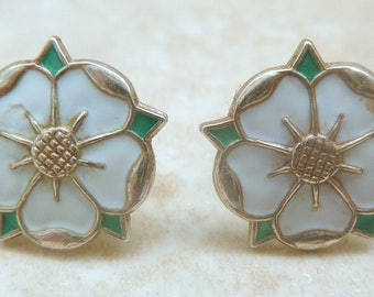 Vintage Deakin & Francis Silver And Enamel Tudor Rose Earrings.